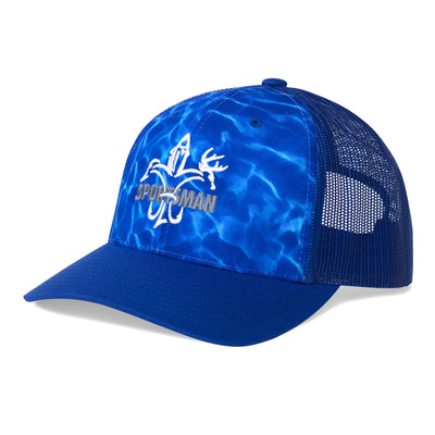 Sportsman Mesh Snapback Blue Camo Fishing Hat