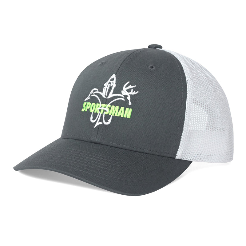 Sportsman Mesh Snapback Grey White Green Fishing Hat