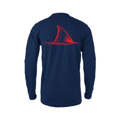 Sportsman Navy Red Fish Tail Long Sleeve Shirt