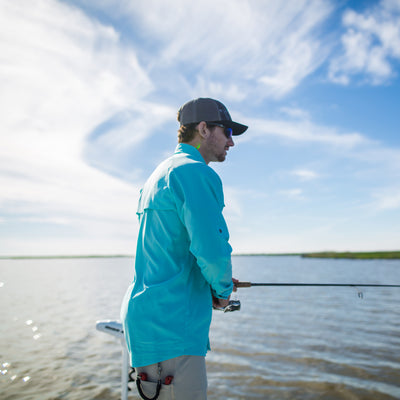 Sportsman button down shirt, shorts, and hat - fishing apparel