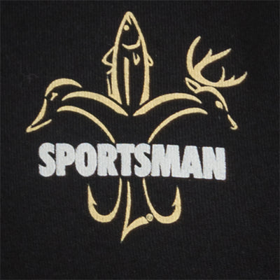 Sportsman Camo Logo Black Shirt Front Patch - Gold deer, duck, fish fleur de lis logo