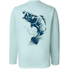 sportsman long sleeve performance fishing shirt - light blue - graphic bass design on back