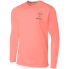sportsman long sleeve performance fishing shirt - coral, red, salmon - graphic bass design on back