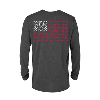 Sportsman American Flag Charcoal Grey Long Sleeve Shirt