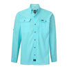 sportsman spooler long sleeve button down fishing shirt light blue