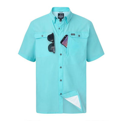 sportsman spooler short sleeve button down fishing shirt light blue