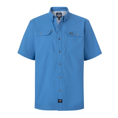 sportsman spooler short sleeve button down fishing shirt blue