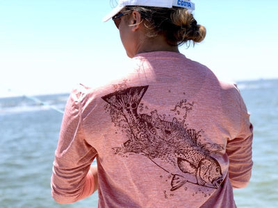 ocean fiishing shirt red fish camo