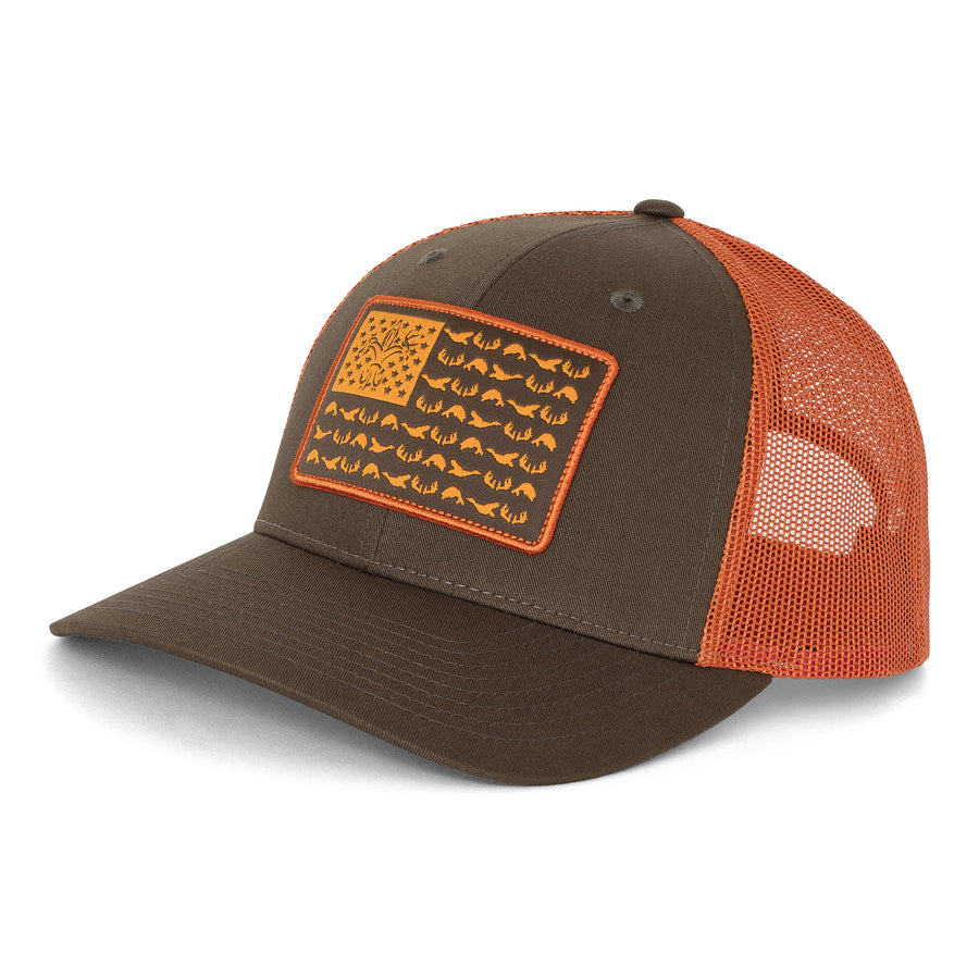 American Sportsman Mesh Back Hat - Dark Loden / Jaffa Orange