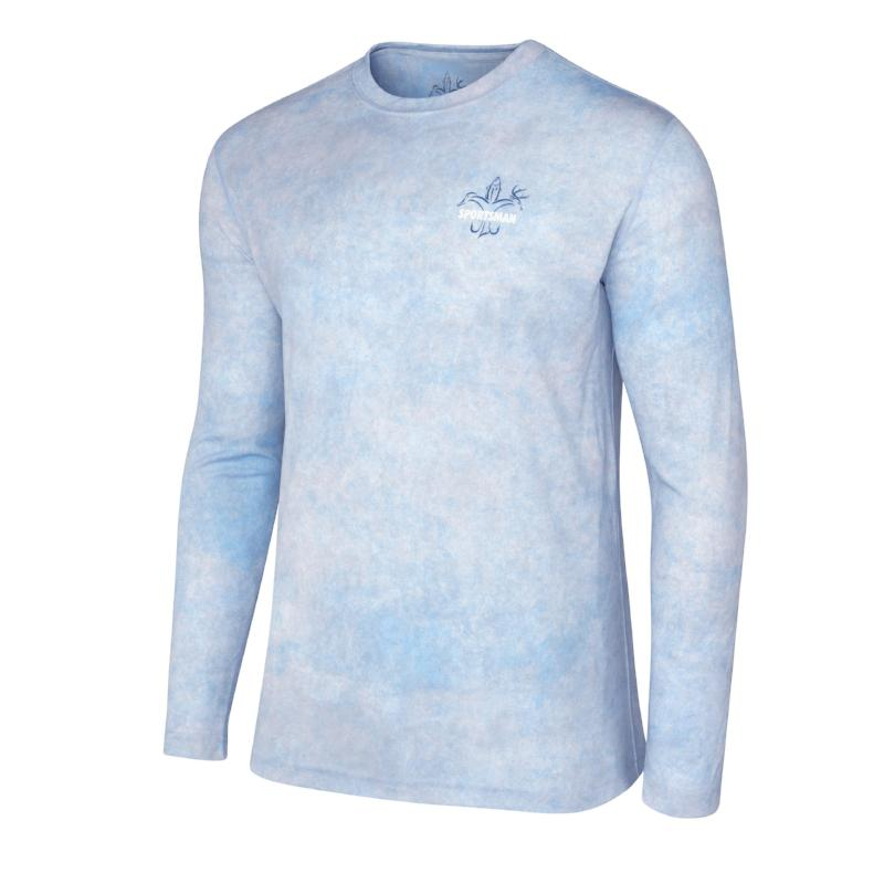 Sportsman Graphic Trout Camo Long Sleeve Performance Fishing Shirt, Light Blue Graphic T