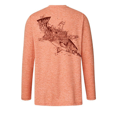 Sportsman Graphic Performance Red Fish Camo Long Sleeve Performance Fishing Shirt, Light Red Graphic T
