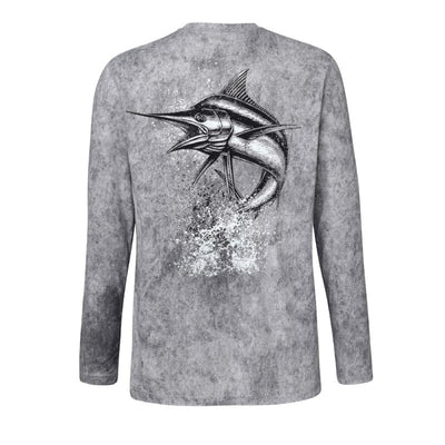 Sportsman Graphic Marlin Camo Long Sleeve Performance Fishing Shirt, Grey Graphic T