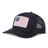 American Sportsman Navy Hat - mesh back navy snapback - American Flag design with deer, duck, fish fleur-de-lis details