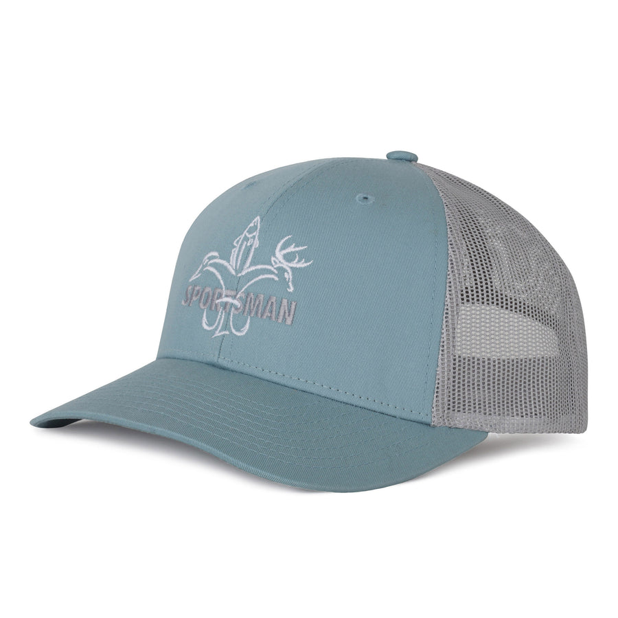 "Sportsman hat - heather grey cotton front, dark navy mesh back, low pro shape, adjustable snapback - white deer, duck, fish fleur-de-lis with dark navy ""Sportsman"" through logo"