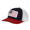 American Sportsman Red, White, Navy Hat - white mesh back, navy front panel, red bill, adjustable snapback - American Flag design with deer, duck, fish fleur-de-lis details