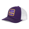 Sportsman Purple and Gold Classic Patch Hat - purple cotton front, white mesh back, snapback - purple, white and gold deer, duck, fish fleur-de-lis patch on front
