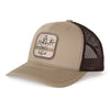 Sportsman Mid Pro Classic Khaki & Coffee Patch Hat - mesh back, cotton front, snapback - brown deer, duck, fish fleur-de-lis logo on khaki patch