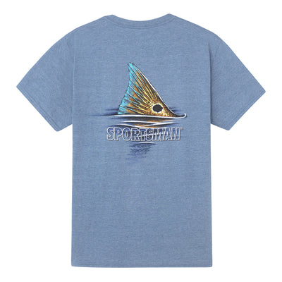 Sportsman Red Fish Tail Heather Indigo Short Sleeve Shirt