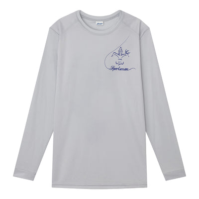 sportsman youth, kids long sleeve performance shirt - silver, grey - graphic bass design on back