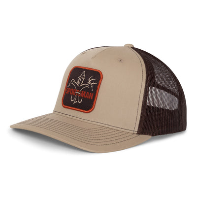 Sportsman Hat - mesh back snapback, khaki and coffee brown