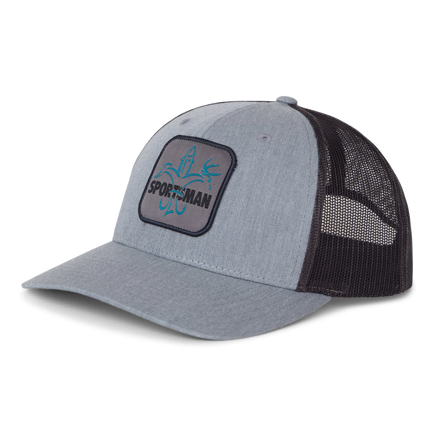 Sportsman Hat - mesh back snapback, grey and charcoal blue logo