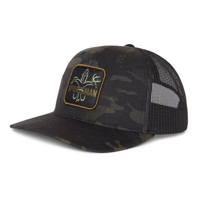 Sportsman Snapback Hat - Black old school camo with meshback