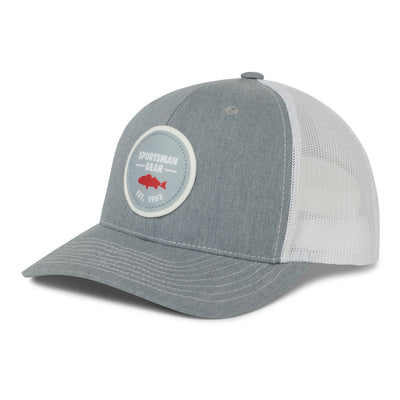 Sportsman Mesh Back Red fish Circle Felt Patch Hat