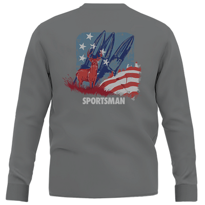 Red Whitetail & Blue Long Sleeve Shirt