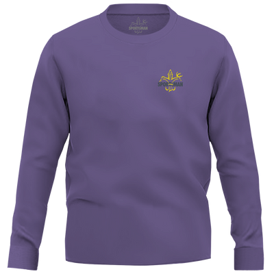 Sportsman Purple & Gold Long Sleeve LSU Shirt - deer, duck, fish fleur-de-lis logo