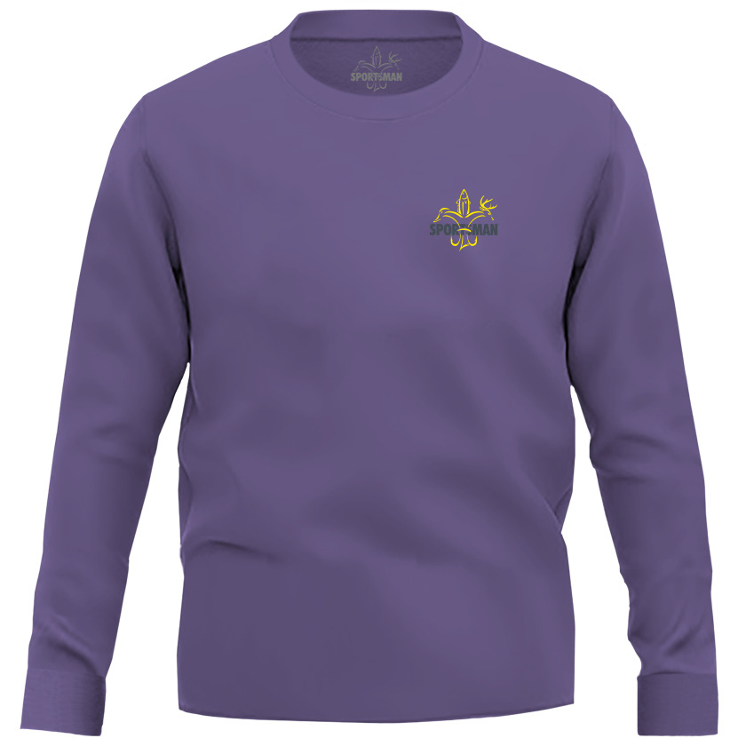 Purple & Gold LSU Sportsman Long Sleeve Shirt - deer, duck, fish fleur-de-lis logo