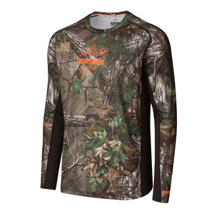 Sportsman Camo Xtra Green cool breeze pro long sleeve performance shirt - deer duck fish hook fleur-de-lis logo