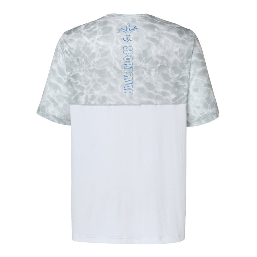 Sportsman cool breeze short sleeve performance fishing shirt white and grey - blue deer duck fish hook fleur-de-lis logo