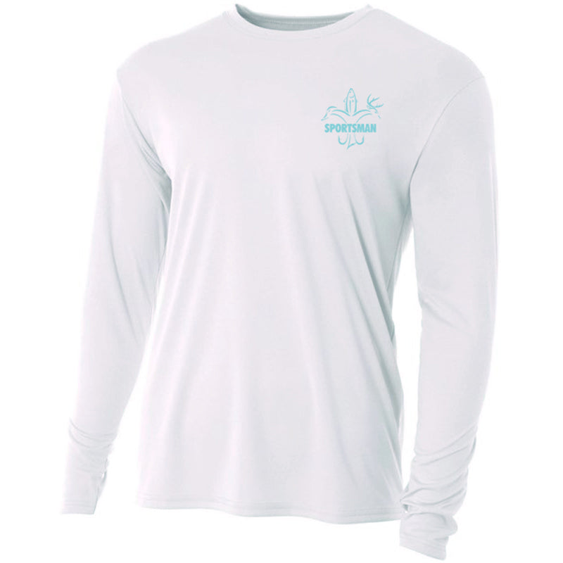 sportsman crab graphic white long sleeve performance shirt