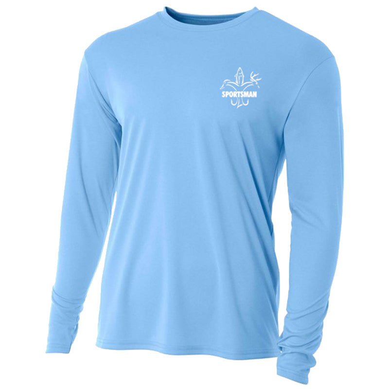 sportsman bull red fish graphic light blue long sleeve performance shirt