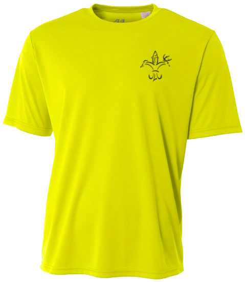 Sportsman Youth Yellow Performance Fishing Shirt - Short Sleeve, UPF 50+, Polyester, Quick Dry, Moisture Wicking, Breathable