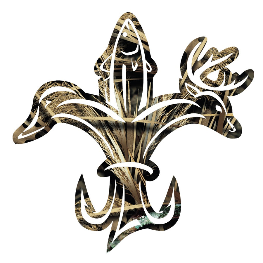 Sportsman Camo Decal - deer, duck, fish, hook fleur-de-lis logo