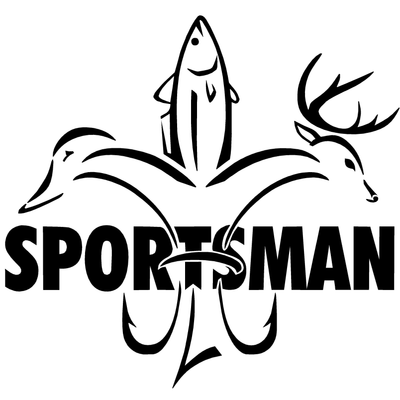 Sportsman Decal W/ Word - Deer Duck Fish Hook Fleur De Lis Logo with Sportsman written through it.