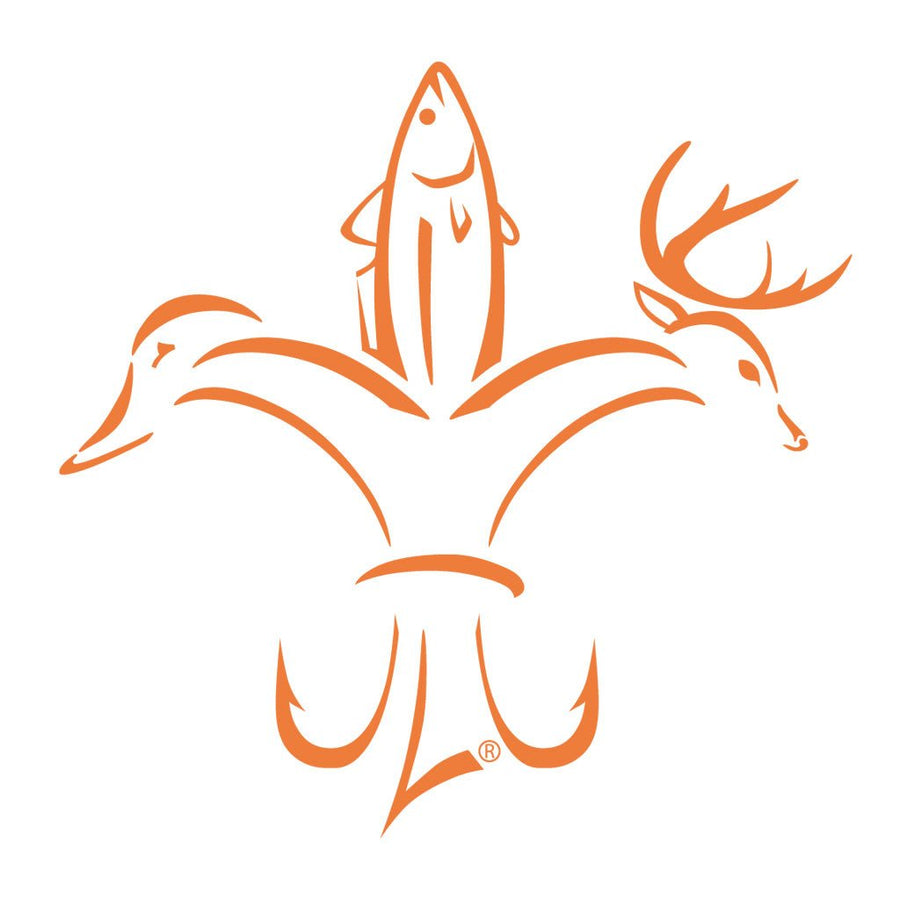 Deer, Duck, Fish, Hook Fleur-de-lis Decals - Orange Sportsman Logo