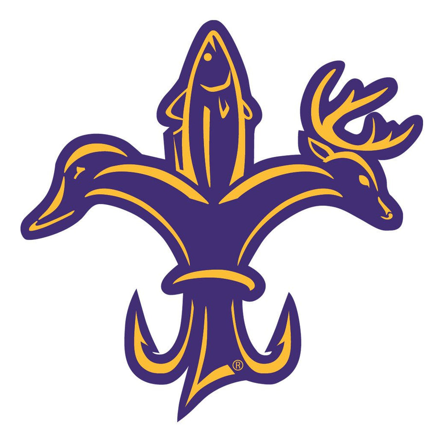 Sportsman Purple & Gold Decal - Deer, duck, and fish fleur-de-lis logo.