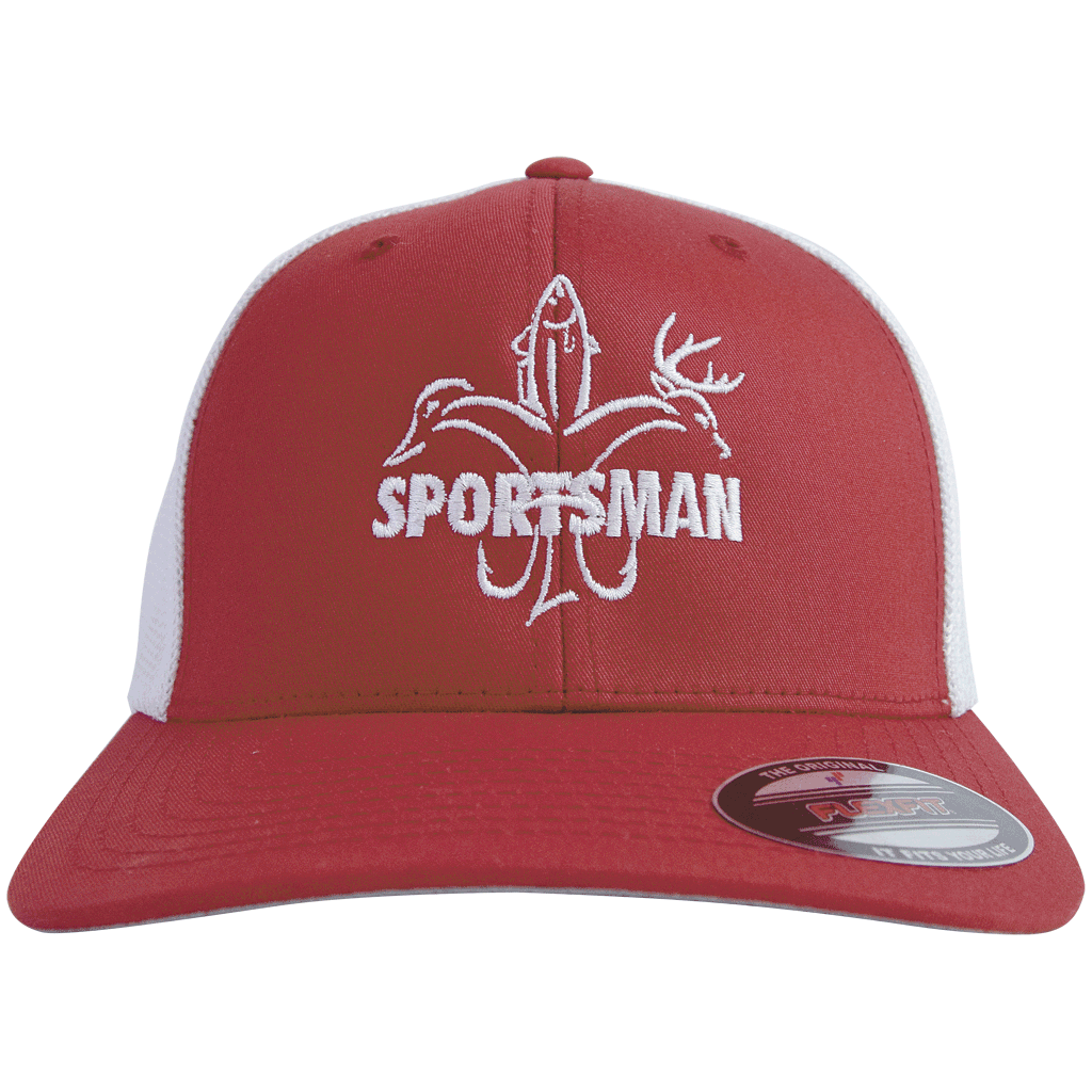 Sportsman hats red white fitted flex fit fishing for Fitted fishing hats