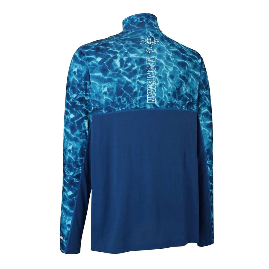 Sportsman cool breeze quarter zip long sleeve performance fishing shirt blue and white - deer duck fish hook fleur-de-lis logo