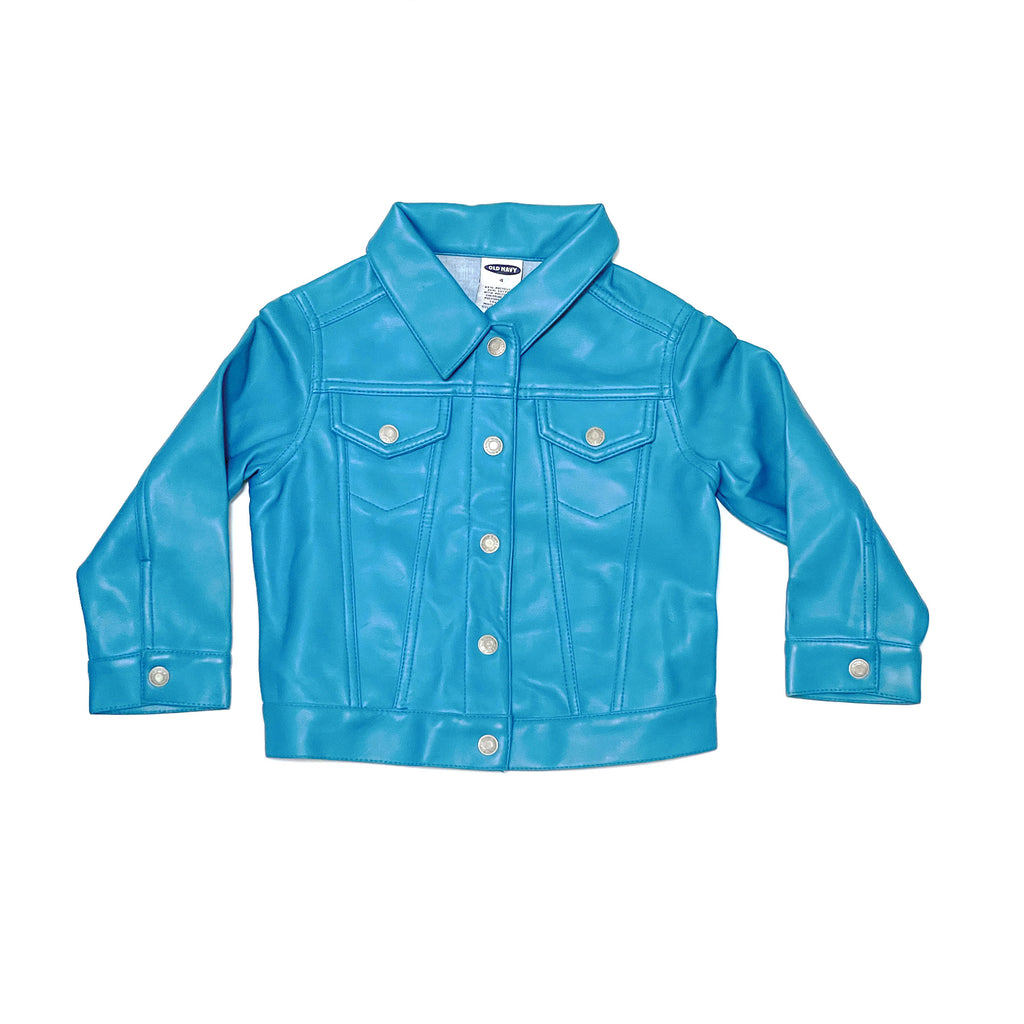 90'S VINTAGE TODDLER BLUE VINYL TRUCKER JACKET
