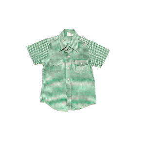 60'S VINTAGE KIDS GREEN GINGHAM SHORT SLEEVE SHIRT