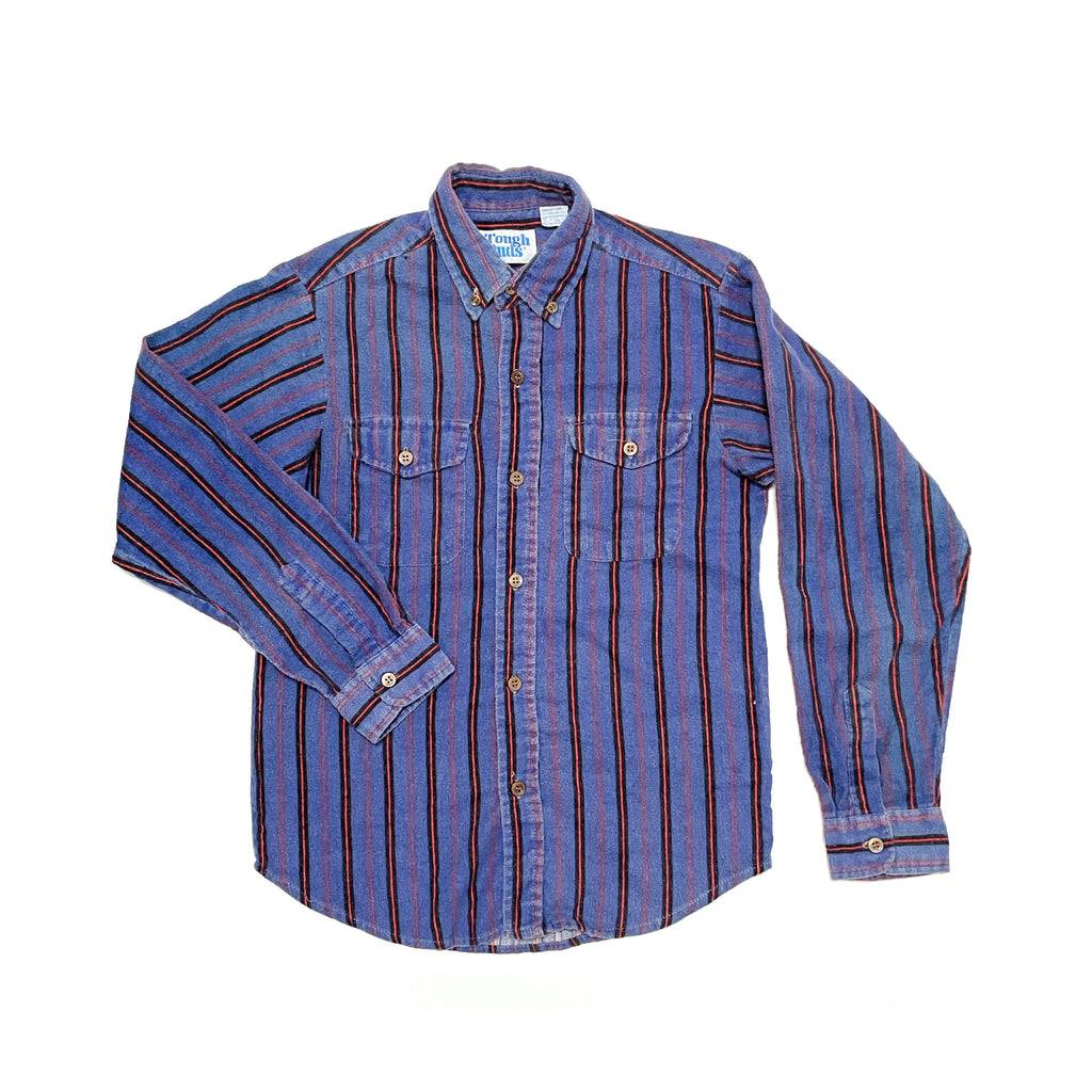 80'S VINTAGE KIDS VERTICAL STRIPE FLANNEL BUTTON DOWN