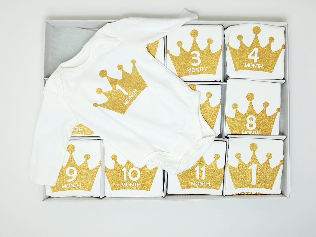 Baby Milestone Set ( 12 pieces ) bodysuit 12 months , تبان اطفال 12 قطعة