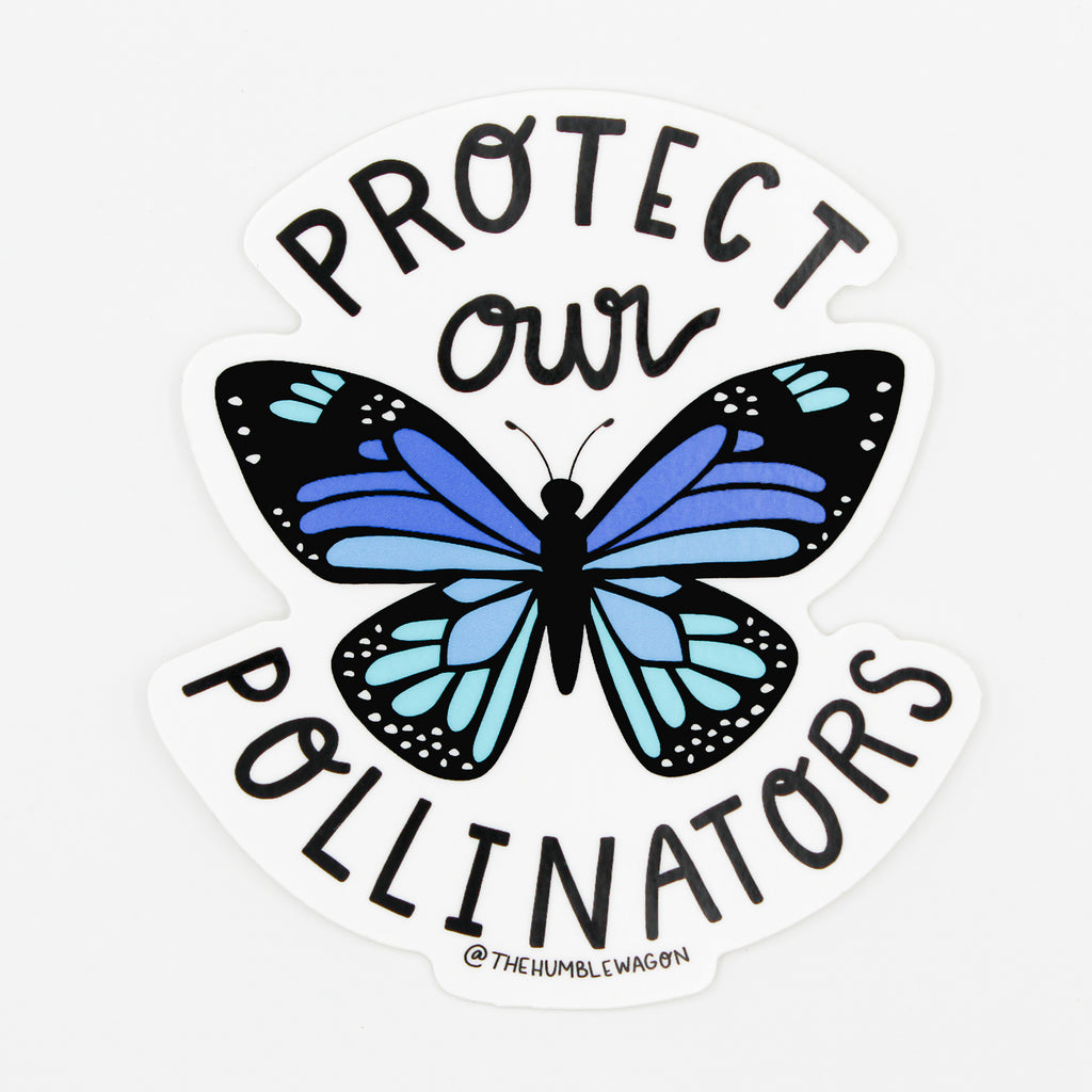 Protect Our Pollinators - Blue Butterfly Die Cut Sticker - The Humble Wagon