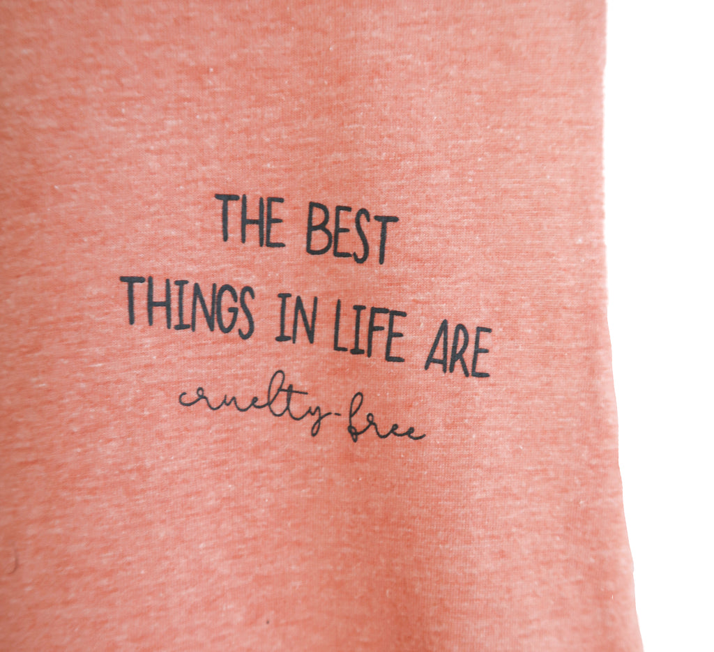 The Best Things in Life are Cruelty Free - Racerback Cropped Tank - The Humble Wagon