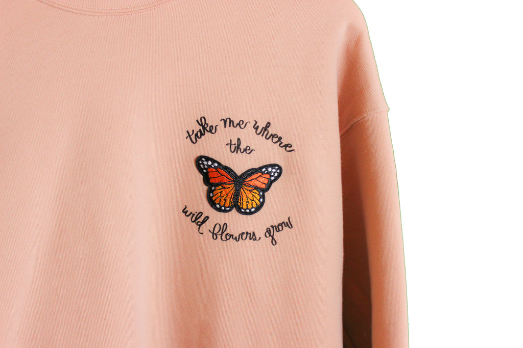 Where The Wild Flowers Grow - Butterfly Fleece Sweater - The Humble Wagon