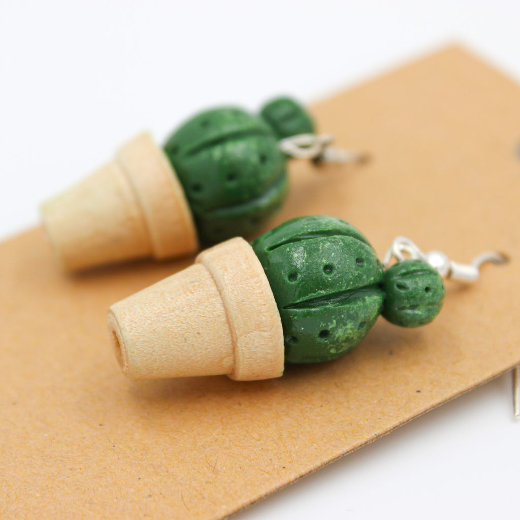 Cactus Earrings - Potted Plants - Handmade