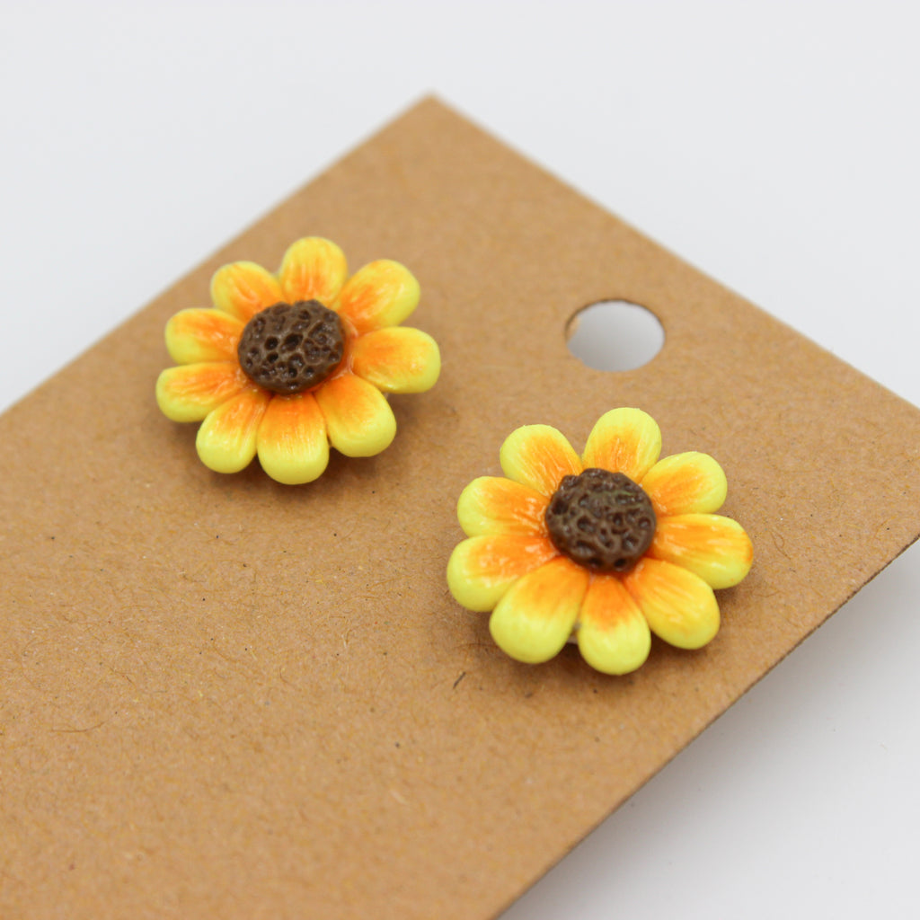 Sunflower Studs - Handmade Earrings - The Humble Wagon